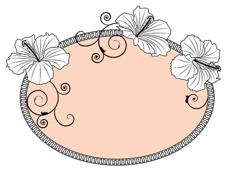 hibiscus in black and white colors Vector