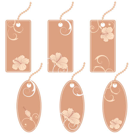 set of the price tags with hibiscus Vector