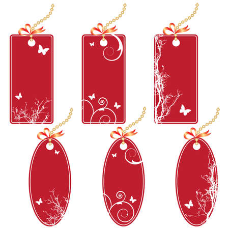 set of the price tags in red colors Stock Vector - 8775232