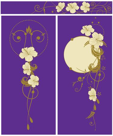 set of the floral banners with flowers of hibiscus Vector