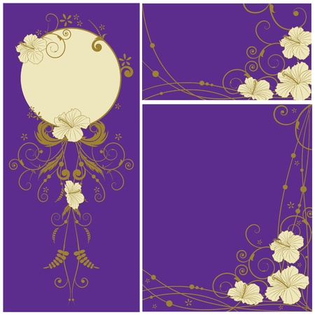 set of the floral banners with flowers of hibiscus Stock Vector - 8775238