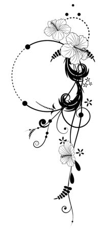floral banners with flowers of hibiscus in black and white colors Vector