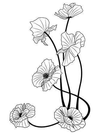 flower tattoo: the poppies in black and white colors Illustration