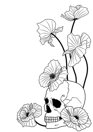 the skull and poppies in black and white colors Vector