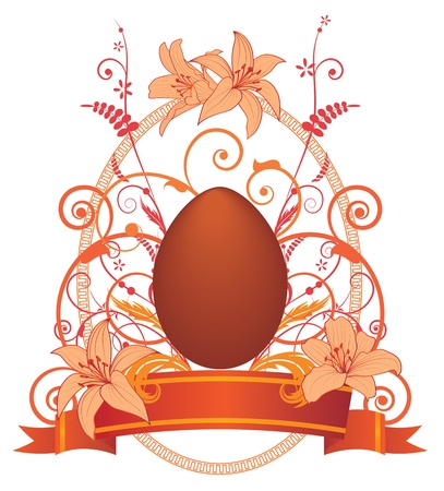 Easter background with egg and lilies Stock Vector - 8883427