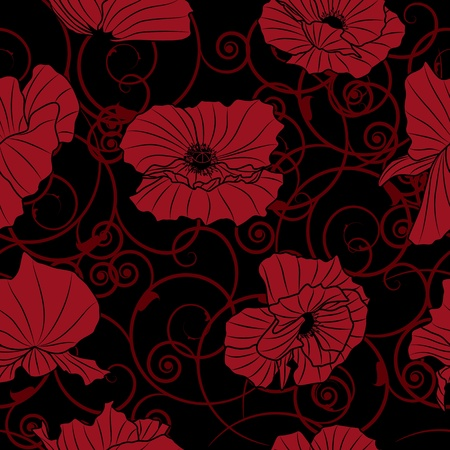 art materials: seamless vector background with flowers of poppy