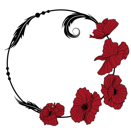 vector frame  with flowers of red poppy Stock Vector - 8923632
