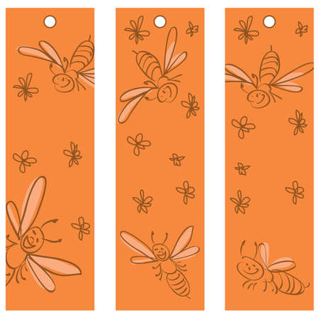 labels with funny  bees Stock Vector - 8978242