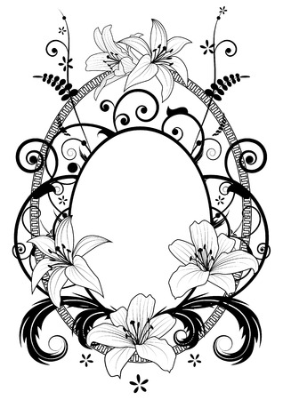 white lily: frame with  lilies in black and white colors