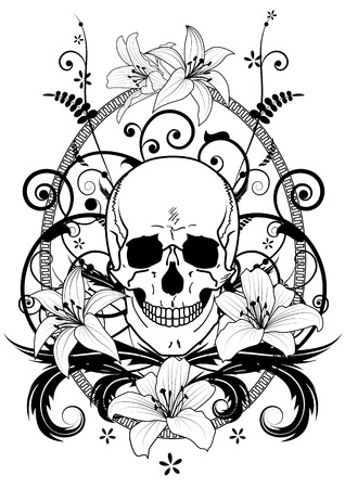 illustration of lilies and skull in black and white colors