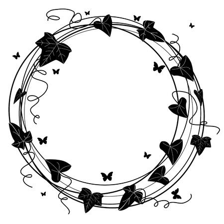 cadre noir et blanc: Tour de cadre avec la direction de lierre