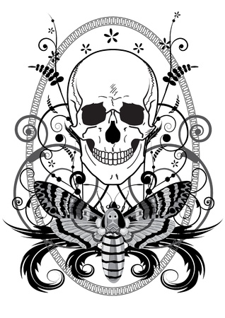 illustration of the skull and butterfly in black and white colors Vector