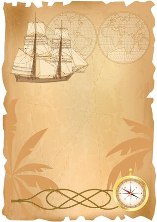 sailer: vector background with  sea travel elements (EPS 10) Illustration