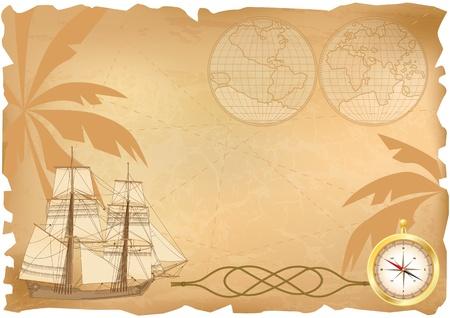 tallship: background with  sea travel elements  Illustration