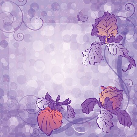 vector frame with the flowers of irises  Vector