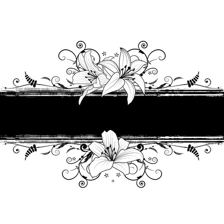 lily flower: vector banner with lily in black and white colors