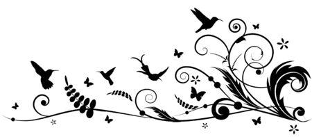 vector design element with hummingbird and batterflies Vettoriali