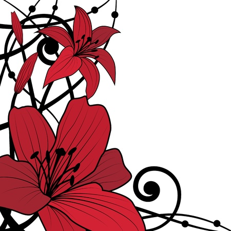 outline red: vector background of lily in black and red colors Illustration