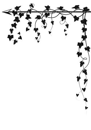 vector corner design with branch of ivy