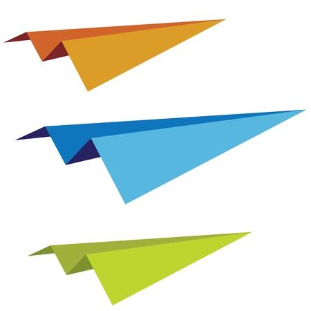 papierflugzeug: Satz von der Vektor bunt Papierflieger Illustration