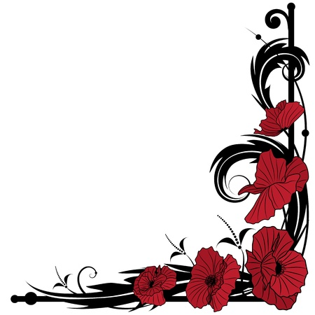 corner border: vector background with poppies for corner design