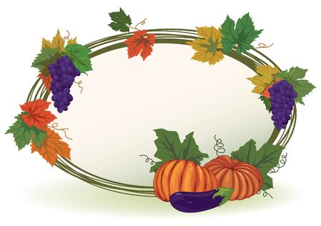 autumnal vector frame with pumpkins (EPS 10) Stock Vector - 9657494