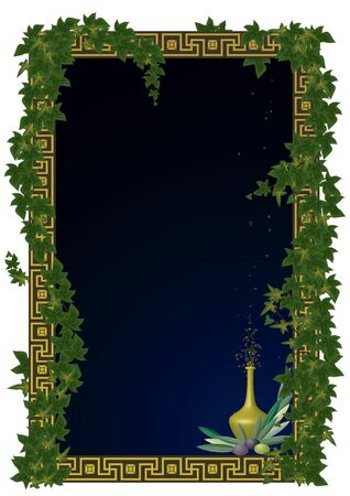 meander: vector frame with  olive  and branches of ivy