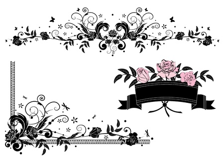 corner border: vector design elements  with roses in pink,  black and white colors Illustration