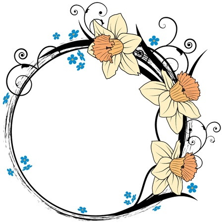 forget me not: vector frame with flowers of narcissus and forget-me-not