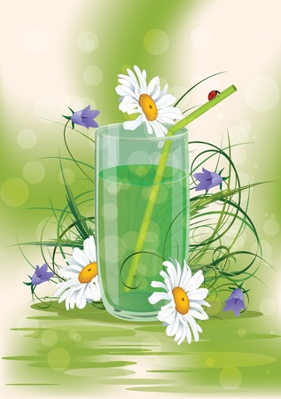 vector illustration of the glass with flowers (eps 10)