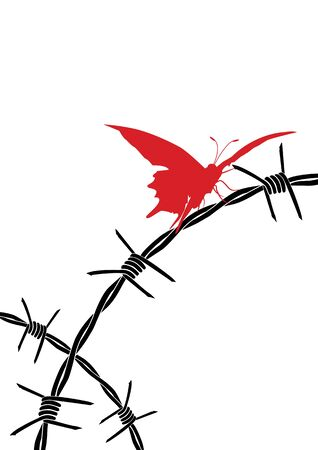 vector illustration of barbed wire and butterfly