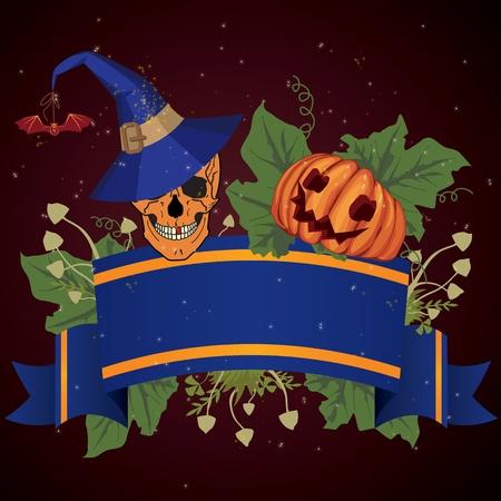 necromancy: vector Halloween illustration with skull and pumpkin