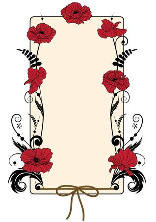 vector floral background with the  red poppies  Vector