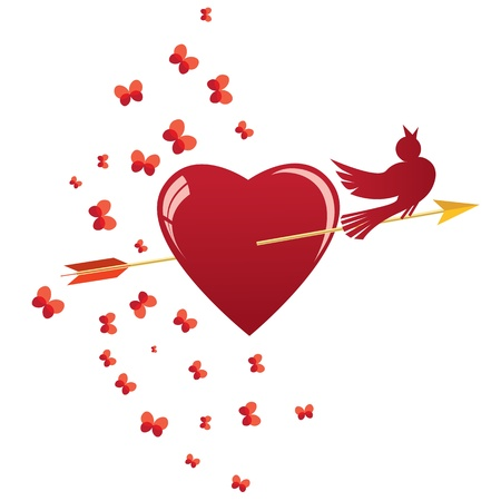 love song: abstract vector illustration with heart, bird and arrow