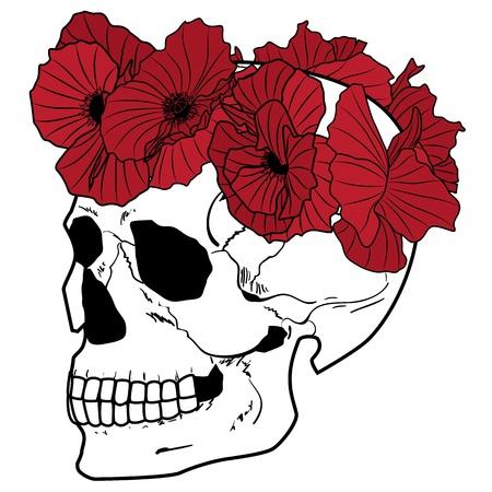 skull tattoo: vectorillustratie van de schedel en papavers in rode, zwarte en witte kleuren