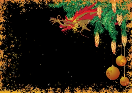 New Year 2012 background with dragon Stock Vector - 10054786
