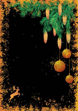 Christmas background with reindeer and fir branches Stock Vector - 10054790