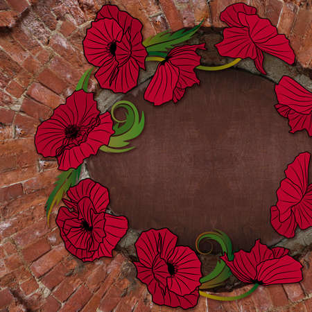 old brick wall background with wreath of poppies photo