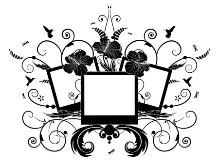 Floral frames with flowers of hibiscus Vector