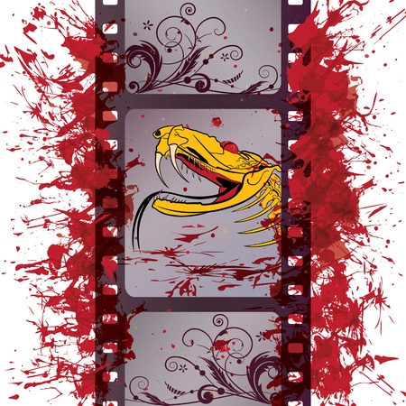 vector film strip background with dragon (EPS 10) Vector