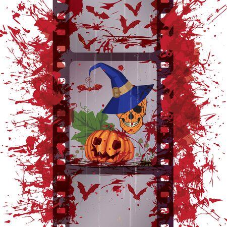 vector Halloween illustration with film strip, skull and pumpkin (EPS 10) Vector