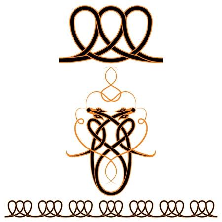 orange snake: vector set of celtic patterns: dragons and seamless pattern