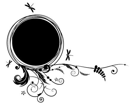 abstract vector floral banner with dragonflies in black and white colors Vector