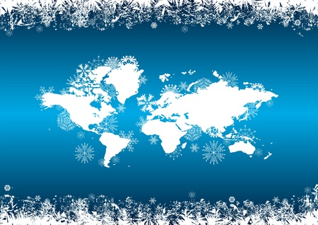 happy world: vector abstract background with snowflakes in blue and white colors Illustration