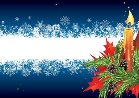 flor de pascua: Tarjeta de Navidad con velas y abeto rama