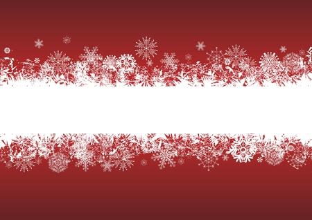 frieren: Vektor abstrakten Hintergrund mit Schneeflocken in Farben rot und wei�