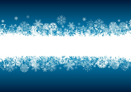 vector abstract background with snowflakes in blue and white colors Illustration