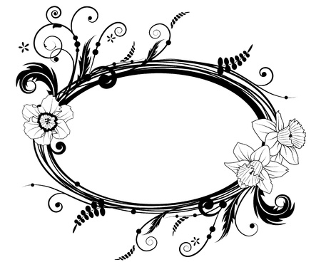 oval: vector frame with flowers of narcissus in black and white colors Illustration