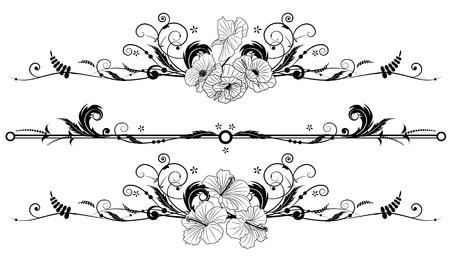 stile liberty: set dei banner floreale vettoriale con fiori di ibisco e papavero