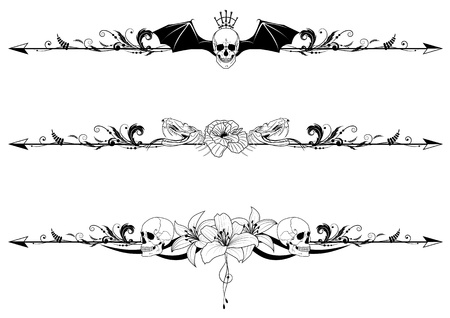 vector set of gothic borders with craniums and flowers Vettoriali